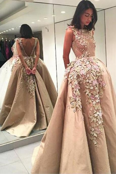 champagne prom dresses, backless prom dresses, flowers prom dresses, lace evening dresses. backless evening gowns, fashion evening dresses, champagne evening dresses, 2020 formal dresses