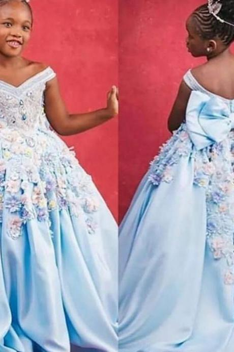 blue little flower girls dress off the shoulder v neck ball gown kids pageant dresses communion dresses 3d flowers dresses