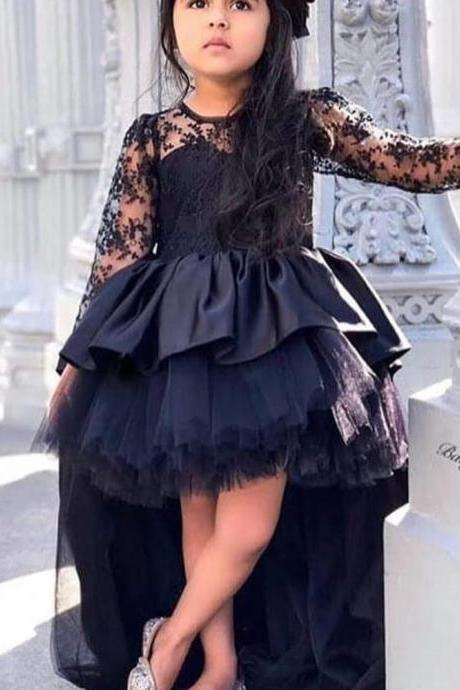 black little girls pageant dresses crew neckline long sleeve high front and low back ruffle satin tulle flower girls dresses kids dress
