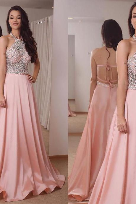 crystal prom dresses pink beaded backless sexy evening dresses halter neckline evening gowns robe de soiree