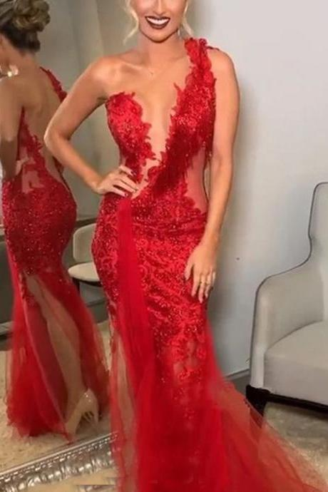 one shoulder prom dresses, lace prom dresses, sequins prom dresses, mermaid prom dresses, beading prom dresses, keyhole prom dresses, lace formal dresses, arabic evening gowns, вечерние платья, vestidos de gala, cocktail dresses
