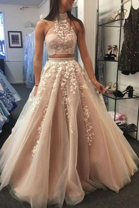 two pieces prom dresses, lace prom dresses, lace evening dresses, champagne prom dresses, two pieces evening dresses, arabic prom dresses, formal dresses, 2020 prom dresses, 2020 evening dresses, abiye gece elbisesi, vestido longo festa