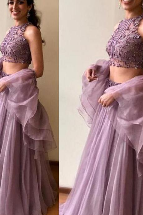 two pieces prom dresses, 2020 prom dresses, long sleeve prom dresses, purple prom dresses, two pieces evening dresses, organza prom dresses, formal dresses, 2020 evening dresses, tulle party dresses, vestidos elegantes, vestido de noche, vestidos de festa longo