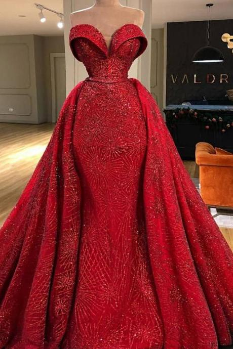 red prom dresses, 2020 prom dresses, sweetheart prom dresses, sparkly prom dresses, sequins prom dresses, detachable prom dresses, detachable evening dresses, red evening dresses, sparkly evening dresses, arabic prom dresses, vestidos de gala,abiti da cerimonia da sera, vestidos elegantes