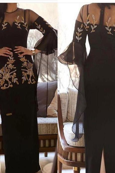 black prom dresses, 2020 prom dresses, beaded prom dresses, long sleeve prom dresses, black evening dresses, long sleeve prom dress, 2020 evening dresses, sheer evening dresses, black formal dresses, sheath prom dresses, long dresses evening, quinceanera dresses, vestido de festa longo