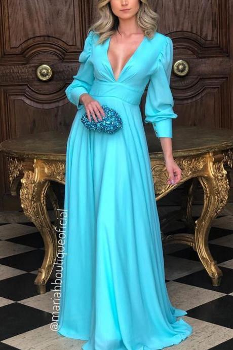 long sleeve prom dresses , deep v neck prom dresses, a line formal dresses, arabic party dresses, blue formal dresses, deep v neck evening dresses, chiffon evening dresses, long sleeve evening dresses, arabic prom dress, abiye gece elbisesi, vestido longo festa, abendkleider