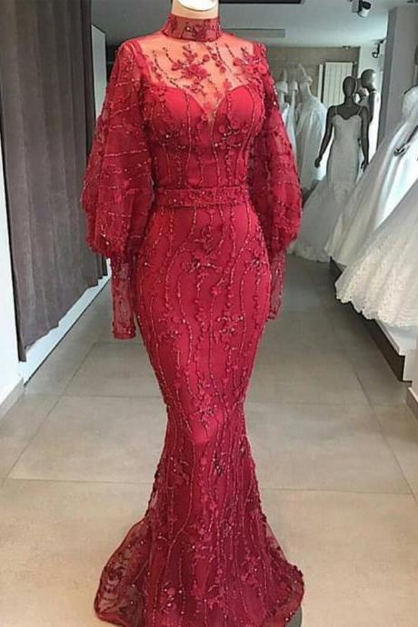 red prom dresses, high prom dresses, formal dresses, long sleeve prom dresses, hand made flowers prom dresses, arabic prom dresses, evening dresses, red party dresses, cheap evening dresses, lace evening dresses, flowers party dresses, vestidos de fiesta, 2020 evening dresses, prom dresses 2019, vestidos de gala