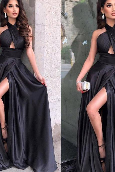black prom dresses, side slit prom dresses, pleats prom dresses, satin prom dresses, evening dresses, formal dresses, 2020 party dresses, a line evening dresses, arabic prom dresses, 2020 homecoming dresses, black cocktail dresses
