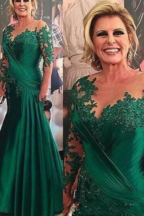 green prom dresses, sheer crew prom dresses, long sleeve prom dresses, lace prom dresses, pleats prom dresses, mermaid prom dresses, green evening dresses, satin prom dresses, pleats formal dresses, arabic party dresses, fashion party dresses