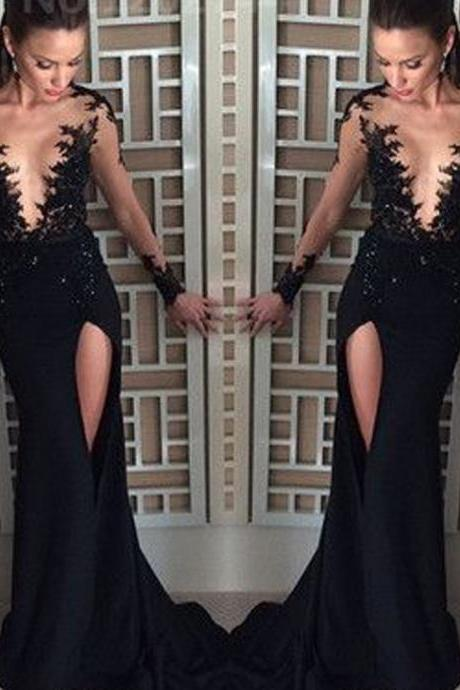 black prom dresses, 2020 prom dresses, deep v neck prom dresses, lace prom dresses, a line prom dresses, side slit prom dresses, chiffon prom dresses, long sleeve evening dresses, sexy prom dress, black evening dresses, evening dresses long, evening gowns, cheap formal dresses, party dresses