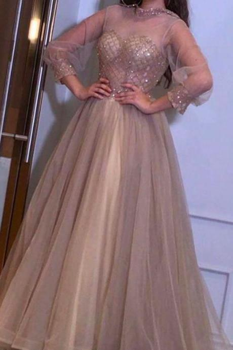 champagne prom dresses, long sleeve prom dresses, a line prom dresses, tulle evening dresses, party dresses, sequins evening dresses, a line prom dresses, elegant prom dresses, vintage prom dresses, 2020 prom dresses, fashion prom dresses