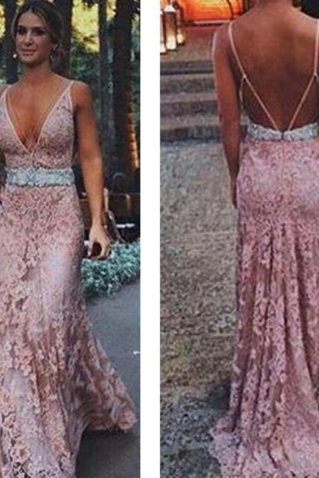 dusty pink prom dresses, lace prom dresses, deep v neck prom dresses, mermaid prom dresses, lace evening dresses, deep v neck evening dresses, lace formal dresses, elegant party dresses, new arrival evening gowns, cheap special occasion dresses, 2020 prom dresses, blush prom dresses, vestidos de fiesta