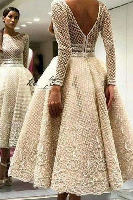 champagne prom dresses, 2020 prom dresses, long sleeve prom dresses, lace evening dresses, party dresses, evening gowns, tea length prom dresses, sparkly prom dresses, formal dresses, new arrival evening dresses, long sleeve formal dresses
