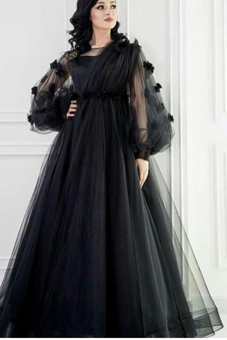 black prom dresses, long sleeve prom dresses, pleats prom dresses, tulle prom dresses, a line prom dresses, black evening dresses, 2020 prom dresses, arabic evening dresses, long sleeve formal dresses, women party dresses, tulle special occasion dresses, 3d flowers prom dresses