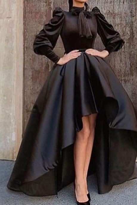 black prom dresses, 2020 prom dresses, bowknot prom dresses, long sleeve prom dresses, high front and low back prom dresses, ruffle prom dresses, satin evening dresses, 2020 prom dresses, cheap prom dresses, sexy party dresses, black evening dresses, arabic prom dress, vestidos de fiesta