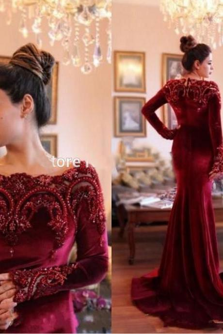 velvet prom dresses, 2020 prom dresses, wine red prom dresses, burgundy prom dresses, lace appliques prom dresses, long sleeve prom dresses, red evening dresses, lace evening dress, mermaid prom dresses, pearls evening gowns, fashion party dresses, custom make evening dress, wine red evening dresses, lace formal dresses, special occasion dresses, fashion dress, 2020 party dress, new arrival dress