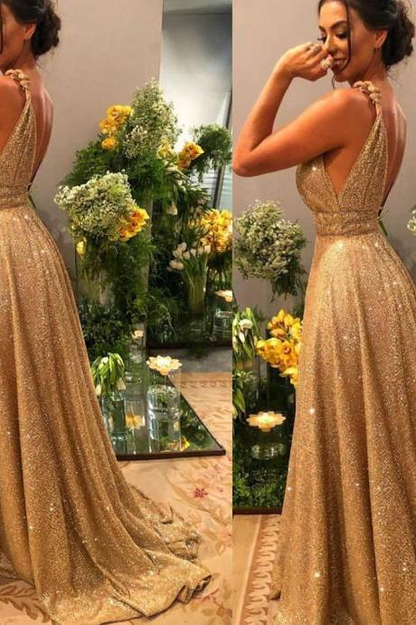 gold prom dresses, 2020 prom dresses, deep v neck prom dresses, sequins prom dresses, arabic prom dresses, 2020 evening dresses, a line prom dresses, backless prom dresses, sparkly prom dresses, arabic evening dresses, sequins evening dresses, shinning prom dresses, sheer evening gowns, sexy formal dresses