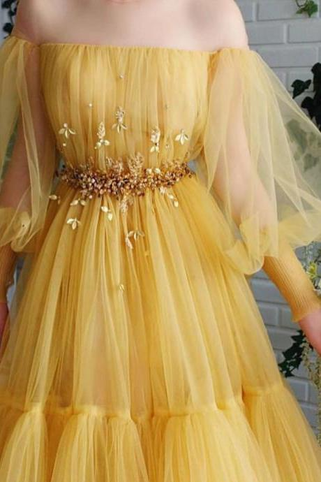 yellow prom dresses, long sleeve prom dresses, pearls prom dresses, beading prom dresses, off the shoulder prom dresses, lace prom dresses, fashion prom dresses, pleats prom dresses, arabic prom dress, a line prom dresses, 2020 prom dresses, evening dresses