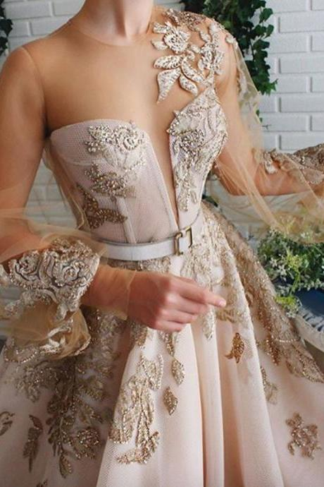 champagne prom dresses, lace prom dresses, long sleeve prom dresses, embroidery prom dresses, beading prom dresses, pearls prom dresses, a line prom dresses, tulle prom dresses, beading prom dresses, evening dresses, long sleeve evening dresses, formal dresses, arabic evening dresses, lace evening dresses