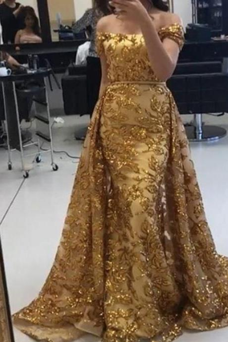 detachable prom dresses, lace prom dresses, sequins prom dresses, off the shoulder prom dresses, a line prom dresses, gold prom dresses, lace formal dresses, gold evening dresses, arabic prom dresses, arabic evening dress, sparkly prom dresses, detachable evening gowns