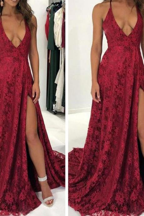 red prom dresses, lace prom dresses, deep v neck prom dresses, side slit prom dresses, red evening dresses, sexy prom dresses, cheap prom dresses, arabic prom dresses, formal dresses, sexy evening dresses, new arrival prom dresses, 2020 prom dresses, sexy evening gowns, cheap party dresses