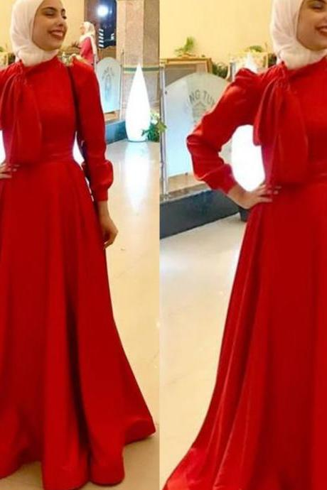 red prom dresses, high neck prom dresses, long sleeve prom dresses, satin prom dresses, red evening dresses, bow prom dresses, long sleeve evening dresses, cheap party dresses, ball gown prom dresses, new arrival prom dresses, 2020 evening gowns, evening dresses
