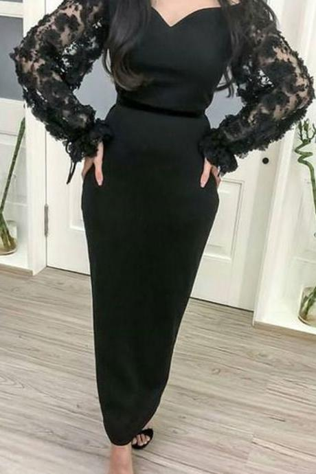 black prom dresses, long sleeve prom dresses, long sleeve evening dress, black evening dresses, sheath prom dresses, flowers prom dresses, 2020 prom dresses, 2020 evening dresses, lace evening dresses, party dresses, 2020 formal dresses, black evening gowns, ankle length prom dresses, 2020 party dress