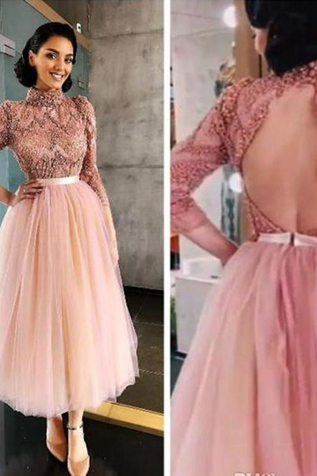 high neck prom dress, blush prom dresses, pearls prom dresses, tulle prom dresses, long sleeve prom dresses, lace prom dresses, lace evening dresses, pink prom dresses, tulle prom dresses, ankle length prom dresses, new arrival prom dresses, 2020 prom dress, 2020 evening dresses, custom make prom dresses