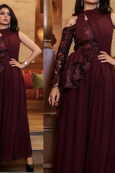 chiffon prom dresses, lace prom dresses, long sleeve prom dresses, pleats prom dresses, a line prom dresses, wine red prom dresses, a line prom dresses, chiffon prom dresses, burgundy prom dresses, 2020 prom dresses, evening dress, evening gowns, formal dresses, burgundy party dresses