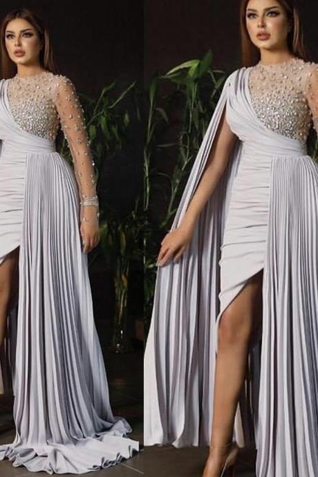 white prom dresses, pleats prom dresses, pearls prom dresses, beaded prom dresses, chiffon prom dresses, lace evening dresses, arabic prom dresses, sheath prom dresses, long sleeve prom dresses, arabic prom dresses, pearls evening gowns, ivory prom dresses, formal dresses, evening gowns