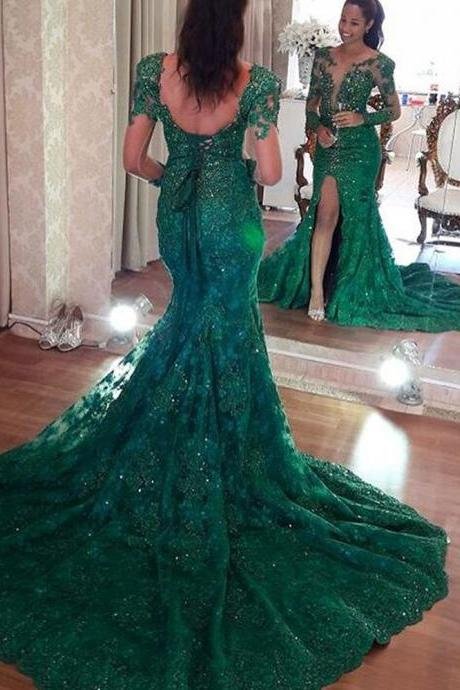 lace prom dresses, green prom dresses, beaded prom dresses, long sleeve prom dresses, mermaid prom dresses, green evening dresses, lace formal dresses, long sleeve evening dresses, crystal prom dresses, beaded evening dresses, backless prom dresses, green evening dresses, 2020 prom dresses, 2020 evening dresses, arabic evening dresses, crystal evening dresses