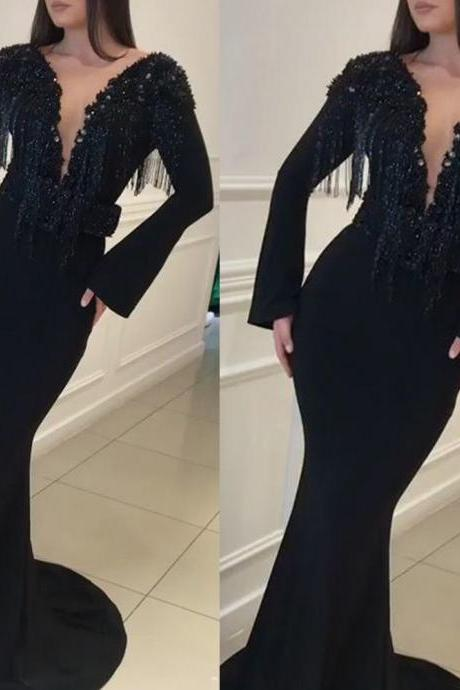 black prom dresses, beaded prom dresses, deep v neck prom dresses, tassel prom dresses, long sleeve prom dresses, black evening dresses, formal dresses, black evening dresses, tassel evening gowns, cheap prom dresses, crystal prom dresses, arabic evening dresses