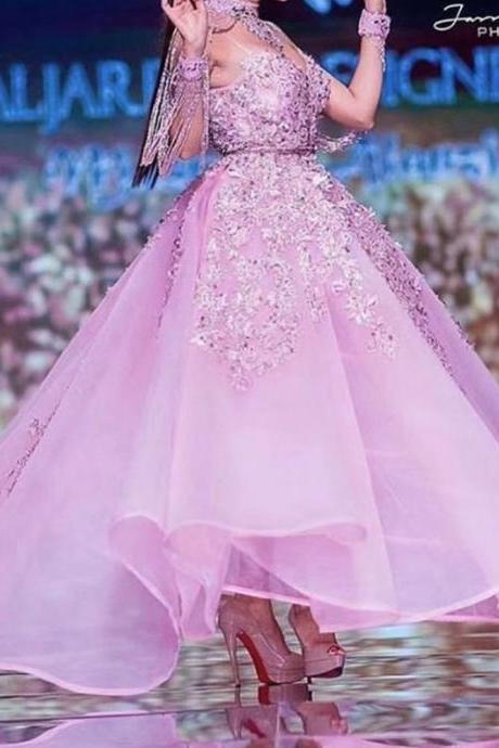 pink prom dresses, lace prom dresses, beaded prom dresses, crystal prom dresses, high neck prom dresses, vintage prom dresses, tassel prom dresses, beading evening dresses, formal dresses, pink evening dresses, tea length prom dress, beaded evening gowns, formal dresses, arabic party dresses