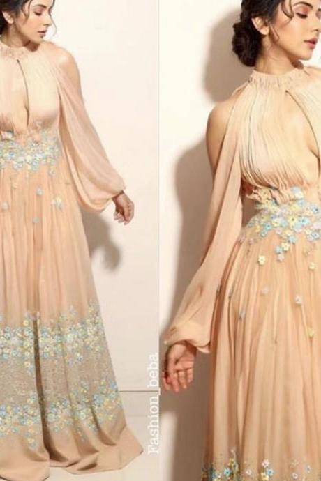 champagne prom dresses, flowers prom dresses, a line prom dresses, chiffon prom dress, evening dresses, long sleeve prom dresses, keyhole prom dresses, flowers prom dresses, evening dresses flowers, long sleeve prom dresses, 2020 party dresses, chiffon formal dresses, custom make prom dresses, 2020 evening gowns