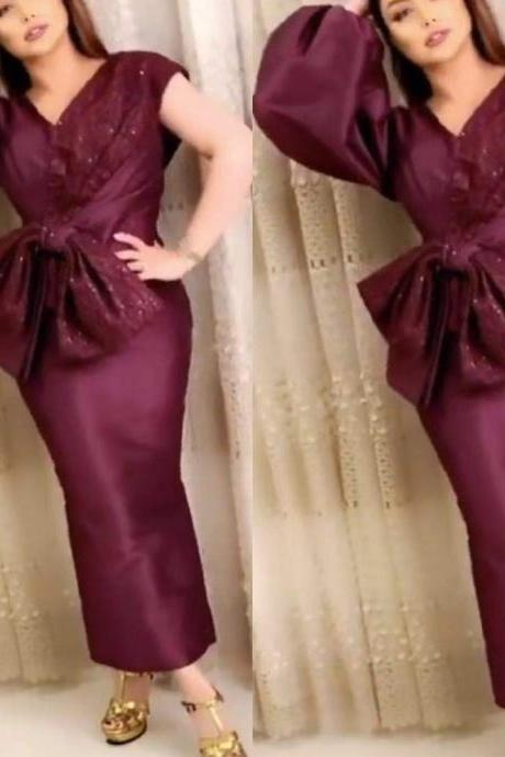 burgundy prom dresses, ankle length prom dresses, cap sleeve prom dresses, arabic prom dresses, 2020 evening dresses, sequins prom dresses, burgundy evening gowns, formal dresses, wine red prom dresses, sheath prom dresses, 2020 party dresses