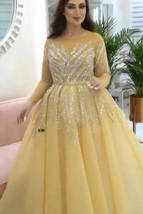 crystal prom dresses, long sleeve prom dresses, crystal evening dresses, 2020 prom dresses, a line prom dresses, custom make prom dresses, beaded prom dresses, 2020 formal dresses, arabic prom dresses, custom make prom dresses, cheap prom dresses, sheer prom dresses, 2020 evening gowns, yellow prom dresses