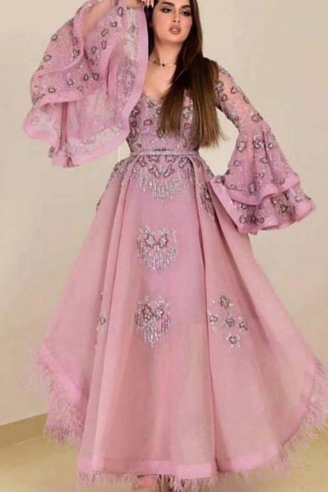 pink prom dresses, long sleeve prom dresses, beaded prom dresses, 2020 prom dresses, long sleeve prom dresses, trumpet prom dresses, feather prom dresses, new arrival prom dresses, formal dresses, evening dresses, party dresses, 2020 evening gowns
