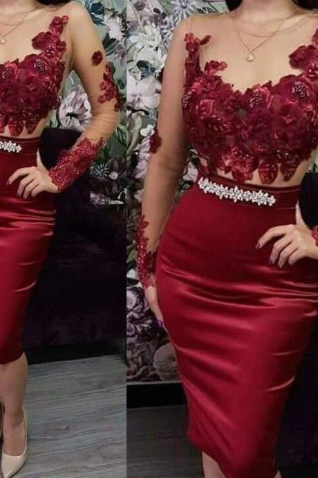 red prom dresses, sheath prom dresses arabic prom dress, long sleeve prom dresses, flowers prom dresses, long sleeve party dresses, burgundy evening dresses, wine red prom dresses, 3d flowers prom dresses, cheap prom dresses, lace evening dresses