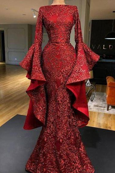 mermaid prom dresses, long sleeve prom dresses, lace prom dresses, long sleeve evening dresses, sparkly evening dresses, long sleeve evening gowns, shinning party dresses, mermaid party dresses, red evening dress, mermaid party dress, lace evening dress, lace formal dress, shinning evening dresses, party dresses