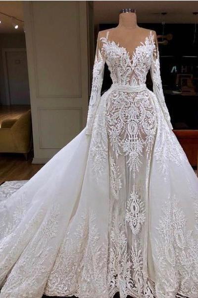 detachable wedding dresses, long sleeve wedding dresses, lace wedding dress, detachable bridal dresses, long sleeve bridal dress, arabic wedding dresses, vestidos de noiva, wedding gowns