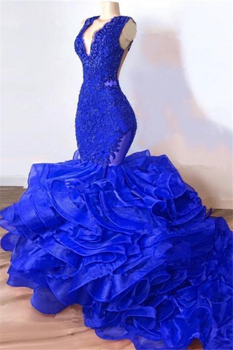 mermaid prom dresses, v neck prom dresses, lace prom dresses, ruffle prom dresses, organza prom dresses, mermaid evening dresses, royal blue prom dresses, tiered prom dresses, royal blue evening dresses, ruffle prom dresses, lace formal dresses, 2020 evening dresses, cheap party dresses, arabic evening gowns, vestidos de fiesta, new formal dress