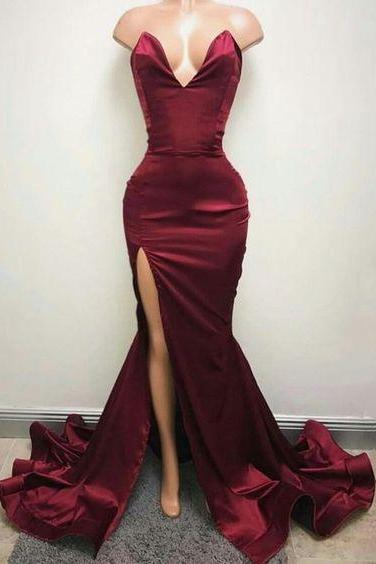 burgundy prom dresses, side slit prom dresses, satin evening dresses, mermaid evening dresss, sweetheart prom dresses, 2020 prom dress, arabic evening dresses, satin formal dress, burgundy evening dress, cheap party dresses, 2020 formal dresses