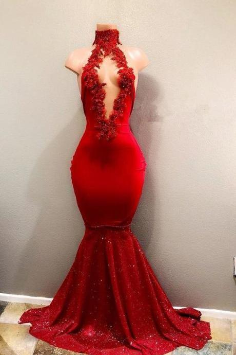 red prom dresses, keyhole prom dresses, hand made flowers prom dresses, lace prom dresses, flowers prom dress, mermaid evening dresses, keyhole party dresses, high neck evening gowns, cheap prom dress, mermaid formal dress, sequins prom dress, sparkly evening dresses