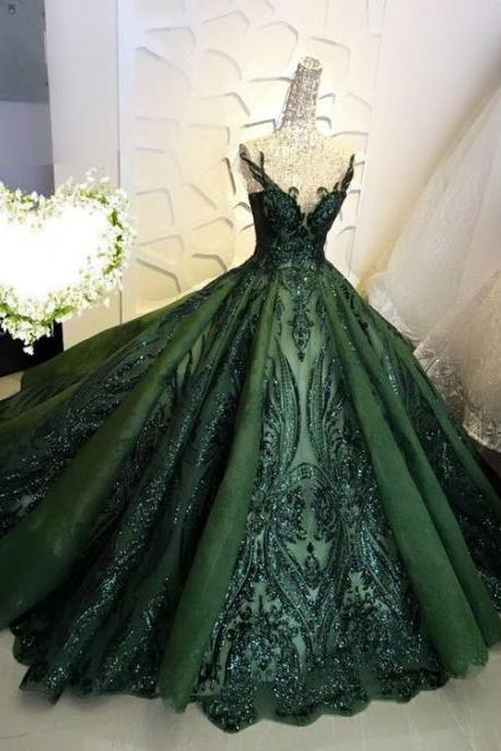 ball gown prom dresses, lace prom dresses, sequins prom dresses, green prom dresses, v neck prom dresses, sparkly formal dresses, new arrival party dresses, arabic party dresses, 2020 formal dresses, ball gown evening dresses, green evening dress, sparkly evening dress, shinning evening dress, shinning formal dresses