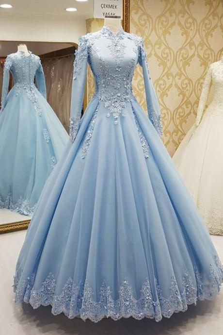 blue prom dresses, high neck prom dresses, long sleeve prom dresses, lace prom dresses, long sleeve evening dresses, tulle prom dresses, arabic prom dresses, flowers prom dresses, long sleeve prom dresses, blue formal dresses, lace evening gowns, 2020 prom dresses