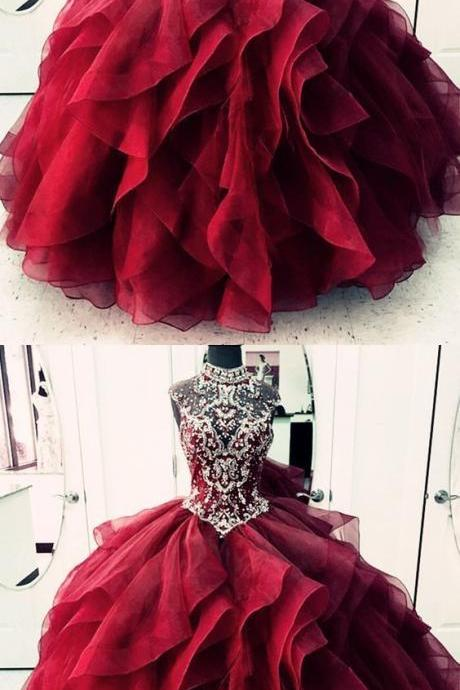 red prom dresses, high neck prom dresses, crystal prom dresses, ruffle prom dresses, organza prom dreses, tulle prom dresses, sheer bodice prom dresses, arabic evening dresses, cheap evening dresses, red formal dresses