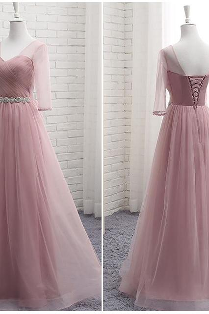 blush bridesmaid dresses, tulle bridesmaid dresses, long bridesmaid dresses, a-line bridesmaid dresses, 2020 bridesmaid dresses, arabic bridesmaid dress, tulle bridesmaid dresses, cheap wedding party dresses, arabic wedding party dress, wedding guest dress, new arrival bridesmaid dresses, a-line evening dresses, pink bridesmaid dress