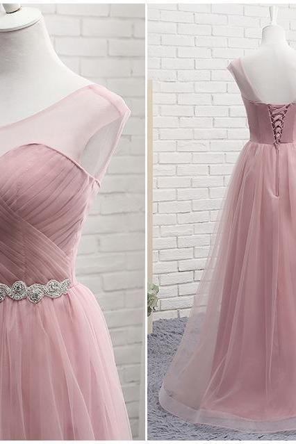 pink bridesmaid dreses, pleats bridesmaid dresses, a line bridesmaid dresses, 2020 bridesmaid dresses, arabic bridesmaid dress, tulle bridesmaid dresses, fashion bridesmaid dress, prom dress, new prom dress, evening dresses, cheap evening gowns