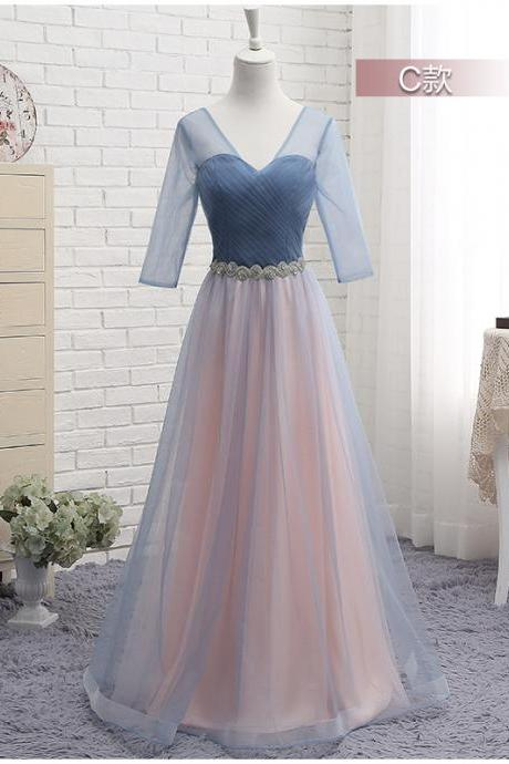 a line bridesmaid dresses, v neck bridesmaid dresses, pleats bridesmaid dresses, long sleeve bridesmaid dresses, arabic bridesmaid dresses, tulle bridesmaid dresses, custom make bridesmaid dresses, long bridesmaid dresses, 2020 bridesmaid dresses, tulle bridesmaid dresses