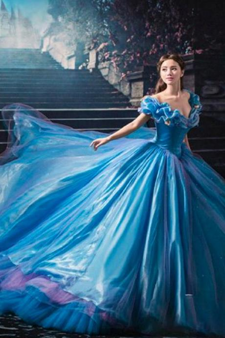 cinderella prom dress, blue prom dress, off the shoulder prom dress, ball gown prom dress, puffy prom dress, tulle evening dresses, flowers evening dresses, butterfly evening dress, sparkly formal dresses, evening gowns, 2020 evening dresses
